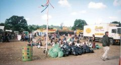 2000 - Knackered litter crew after cleaning Jazzworld area -