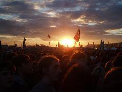 Sunset before Arcade Fire