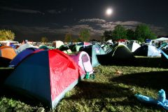 Exit festival camp by night