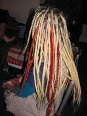 natural dreads with extra long pemanent extensions and wool