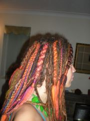 Box braided chunky wool dreads added to natural dreads