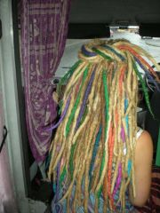 Long dreads with wool for added colour, texture and volume