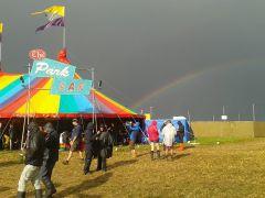 glastonbury tent And rainbow