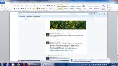 Glasto secret resale tweet 2015