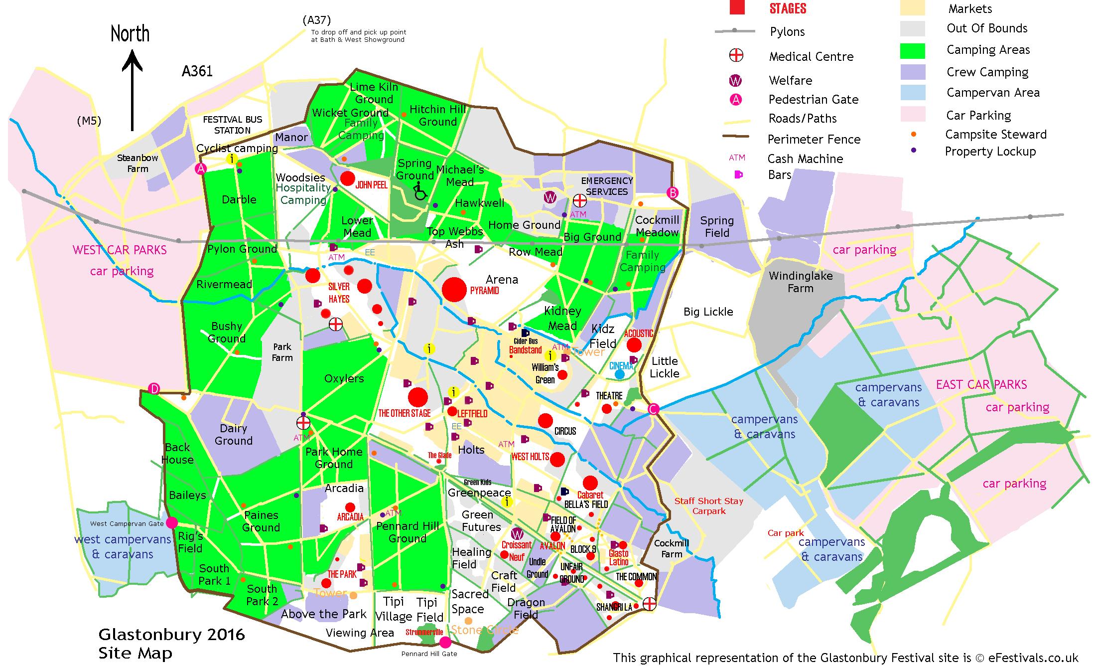 Glastonbury Festival Map Glastonbury Festival 2016 Site Map   eFestivals.co.uk Glastonbury Festival Map