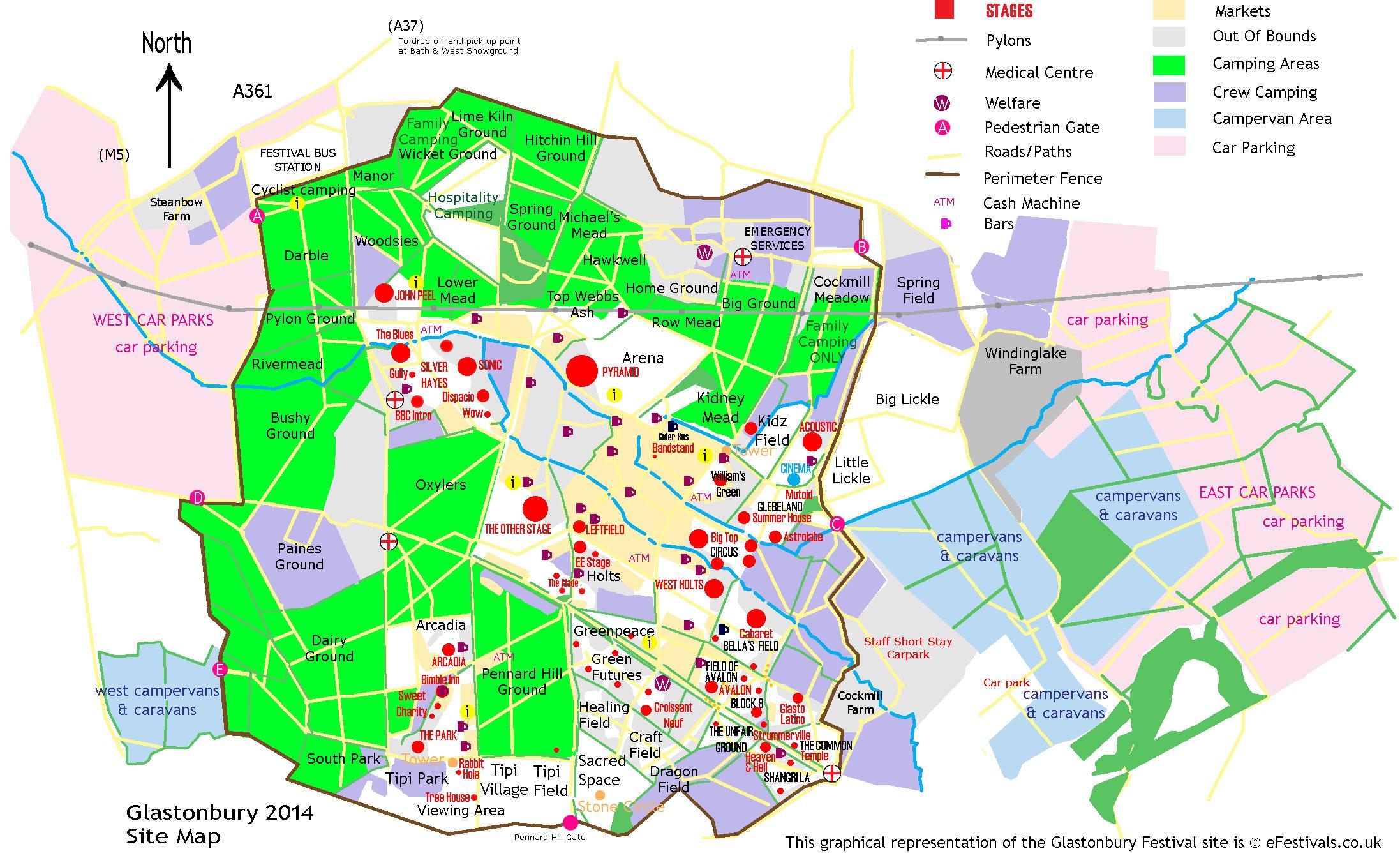 Glastonbury Festival 2014 Site Map Efestivals Co Uk